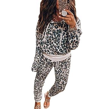 MEIHAOWEI Chándal de Manga Larga para Mujer Estampado de Leopardo ...