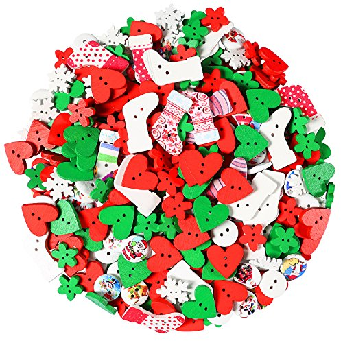 Aneco 400 Pieces Christmas Wooden Buttons Sewing Button for DIY Scrapbooking or Craft Decoration, Christmas Color, Mixed Size and -