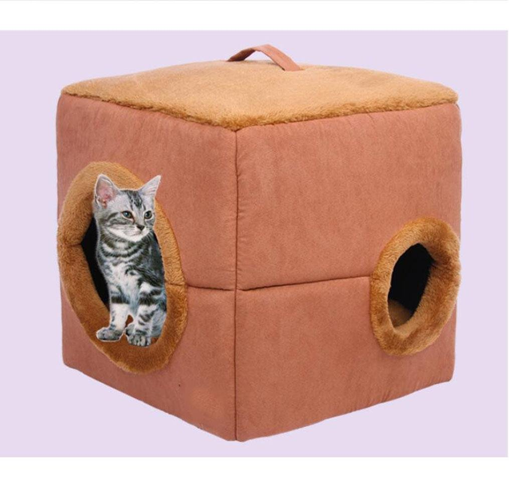 WYXIN Round Hole Square Pet Nest 2 en 1 casa de mascotas y sofá Dog Warm Bed Autumn and Winter Kennel con cojín extraíble de colchón desmontable Brown , S: ...