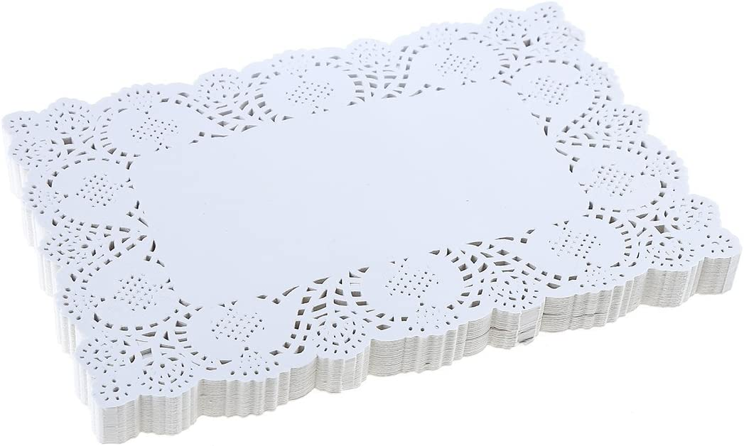 DECORA 9X6.5 Inch Rectangle White Paper Doilies for Birthday Party Wedding Tableware Decoration,Pack of 200