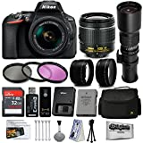 Nikon D5600 Digital SLR Camera Black with 18-55mm and 500mm Preset Telephoto Lens + 32GB 25PC Accessory Bundle Kit