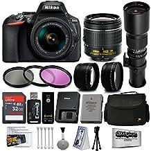Nikon D5600 Digital SLR Camera Black with 18-55mm and 500mm Preset Telephoto Lens + 32GB 25PC Accessory Bundle Kit