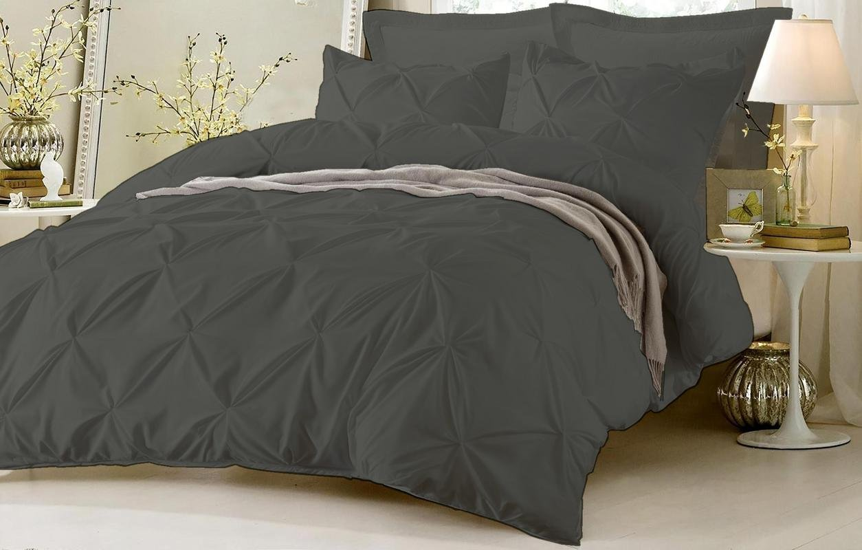 Kotton Culture Pinch Pleated Duvet Cover Set 3 Piece With Zipper & Corner Ties 100% Egyptian Cotton Queen/Full, Grey