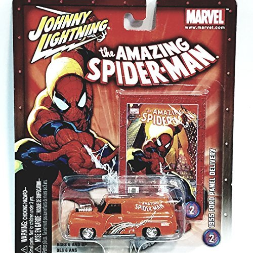 Johnny Lightning Marvel Series The Amazing Spiderman 1955 Orange Ford Panel Delivery Truck 1/64 Scale (1955 Ford Panel Truck)