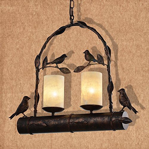 Battaa Retro Wrought Iron Chandelier Noridc American Style Creative Birdcage Pendant Light (Ceiling Pendant Swag)