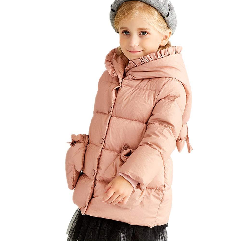 rose 120cm YZ-HODC Manteau en Duvet de Manteau à Capuchon en Duvet d'épaisseur bébé pour Enfant, Manteau d'hiver de Couleur Unie et de Style Doux
