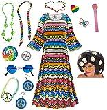 Delirium Hippie Dress Plus Size Halloween Costume Curly Wig Kit 3x