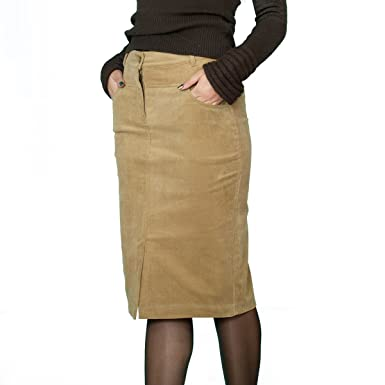 285cbeadc3dc0f Souvenir-Fashion New Ladies Casual Boutique Knee Length Pencil Brown Corduroy  Skirt UK 8 10