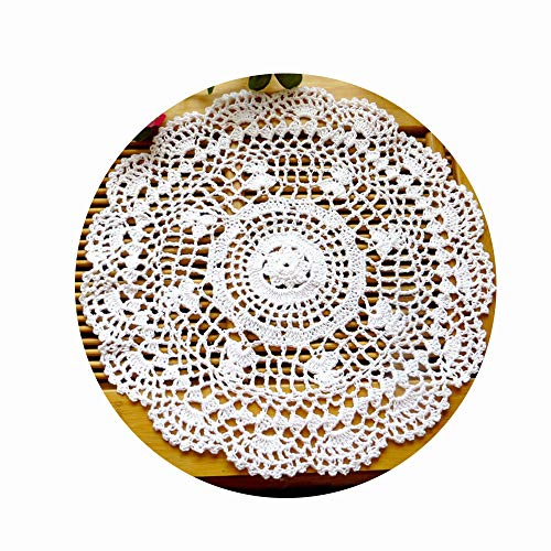 Laivigo New Handmade Crochet Cotton Lace Round Table Placemats Doilies Doily,2PCS,12 Inch,White