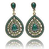 Bohemian Vintage Dangle Earrings for Women National Style Water Drop Beaded Hollow Statement Boho Charm Earrings (Green)