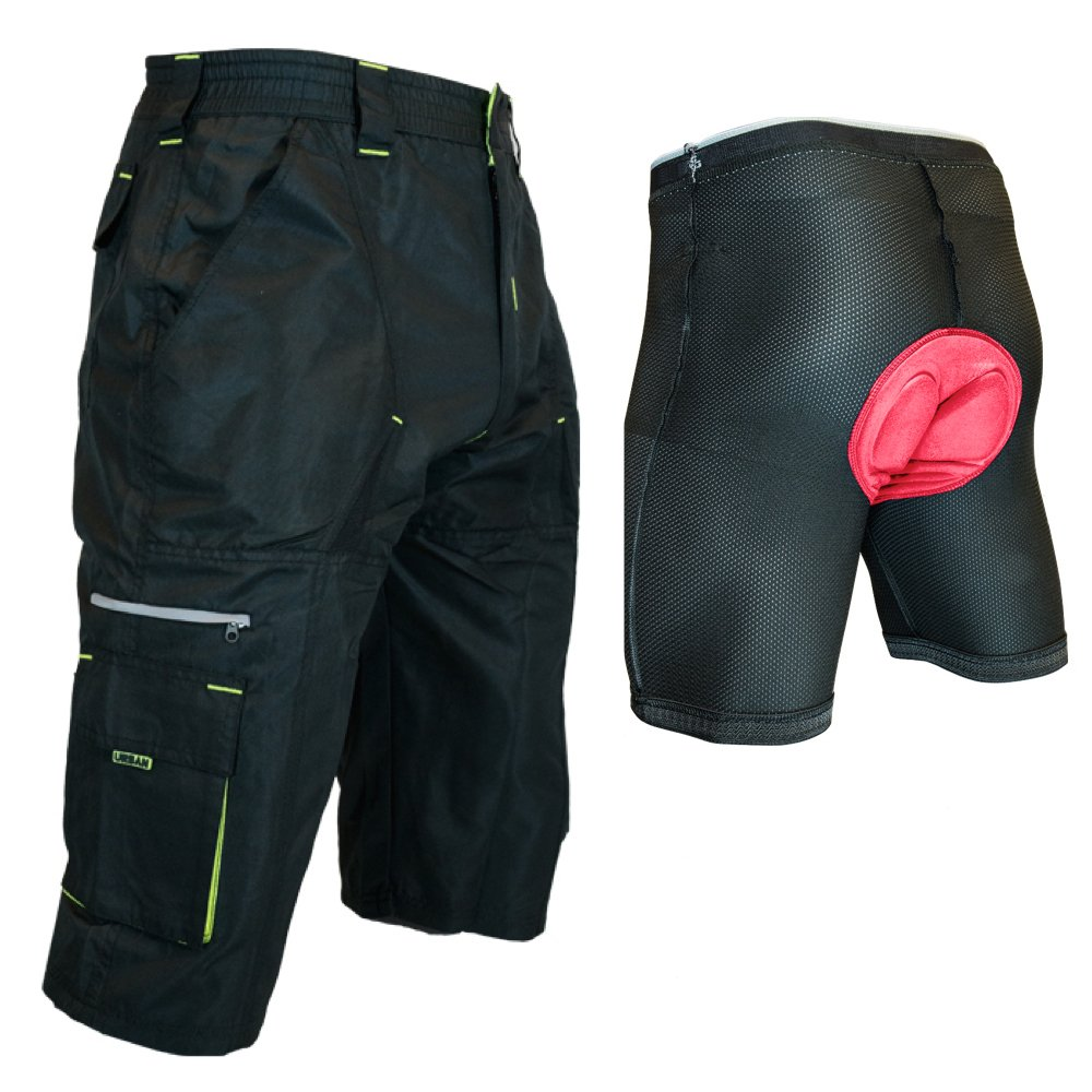 Urban Cycling Apparel SHORTS メンズ 1X Black/Yellow With Undershorts B07CN9NZQH