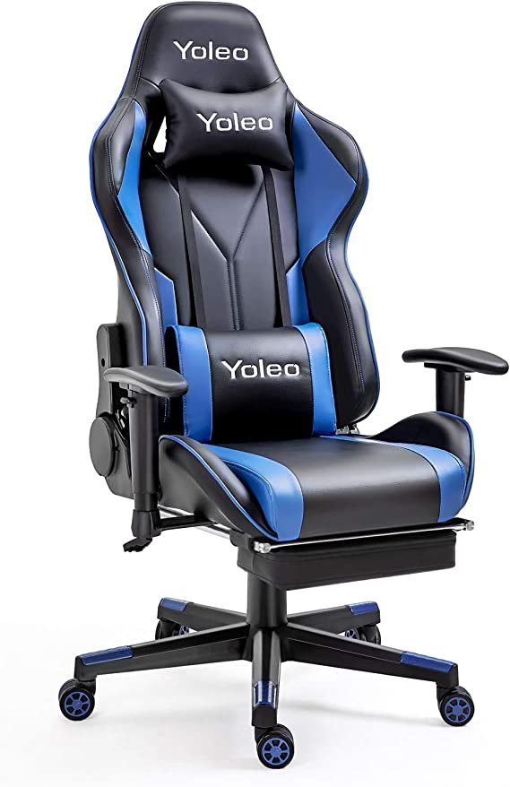 Gaming Chair with Footrest -Yoleo High Back Computer Gaming Chair Ergonomic Office Chair with Mute Casters Adjustable Armrest Desk Chair Recliner Chair with Lumbar Support BIFMA Certified Black/Blue