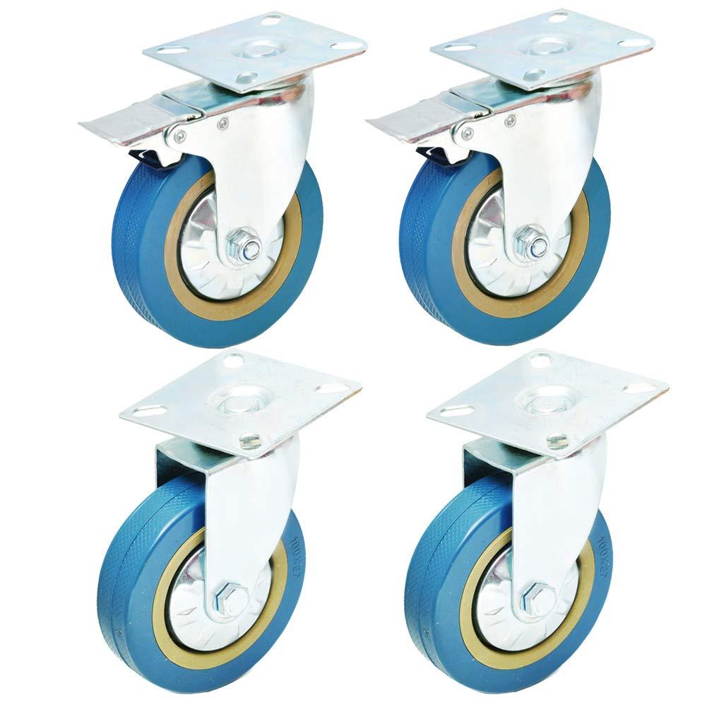 - 2X Standard + 2X Freno 4 Grigio 100mm Anyke Ruote per Il Trasporto Industriale Ruote Rotelle Girevoli per Sedie da Ufficio Ruote per Mobili Carrelli