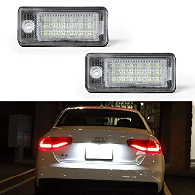 License Plate Light, License Tag Lights, GemPro 2pcs Xenon White LED Car License Number Plate Lamps For Audi A3 S3 A4 S4 A5 A6 S6 A8 S8 Q7 RS4: Automotive