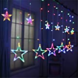 Salcar 138球USB式 2M*1M LEDイルミネーションライト 星型 リモコン付き カラフル 電飾 祝日 飾り付け 防水防雨仕様 窓飾り カーテンライト クリスマスライト ストリングライト