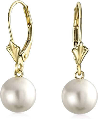 Simple 14K Yellow Real Gold Created Gemstones Round Bead Leverback Dangle Ball Drop Earrings For Women More Birthstone