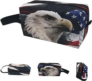 العلم الأمريكي النسر الأصلع يحدق السفر ماكياج منظم حقيبة تخزين المحمولة للفرش أدوات الزينة والمجوهرات والاكسسوارات الرقمية