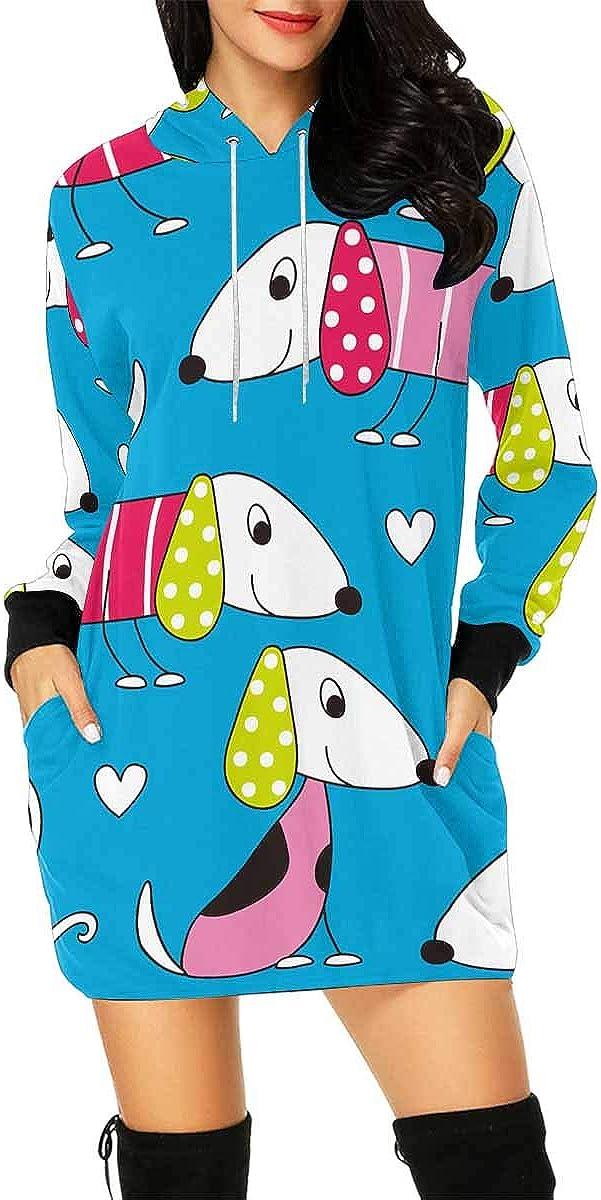 INTERESTPRINT Womens Hoodie Dress Tunic Long Tops Colorful Dogs Long Sleeve Pullover Sweatshirt M