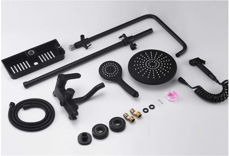 UNIQUE-F Matte Black Brass Body Four-Speed Bathtub Shower Set Rotatable Portable Top Spray Rack Corrosion-Resistant Wear-Resistant by UNIQUE-F (Image #8)