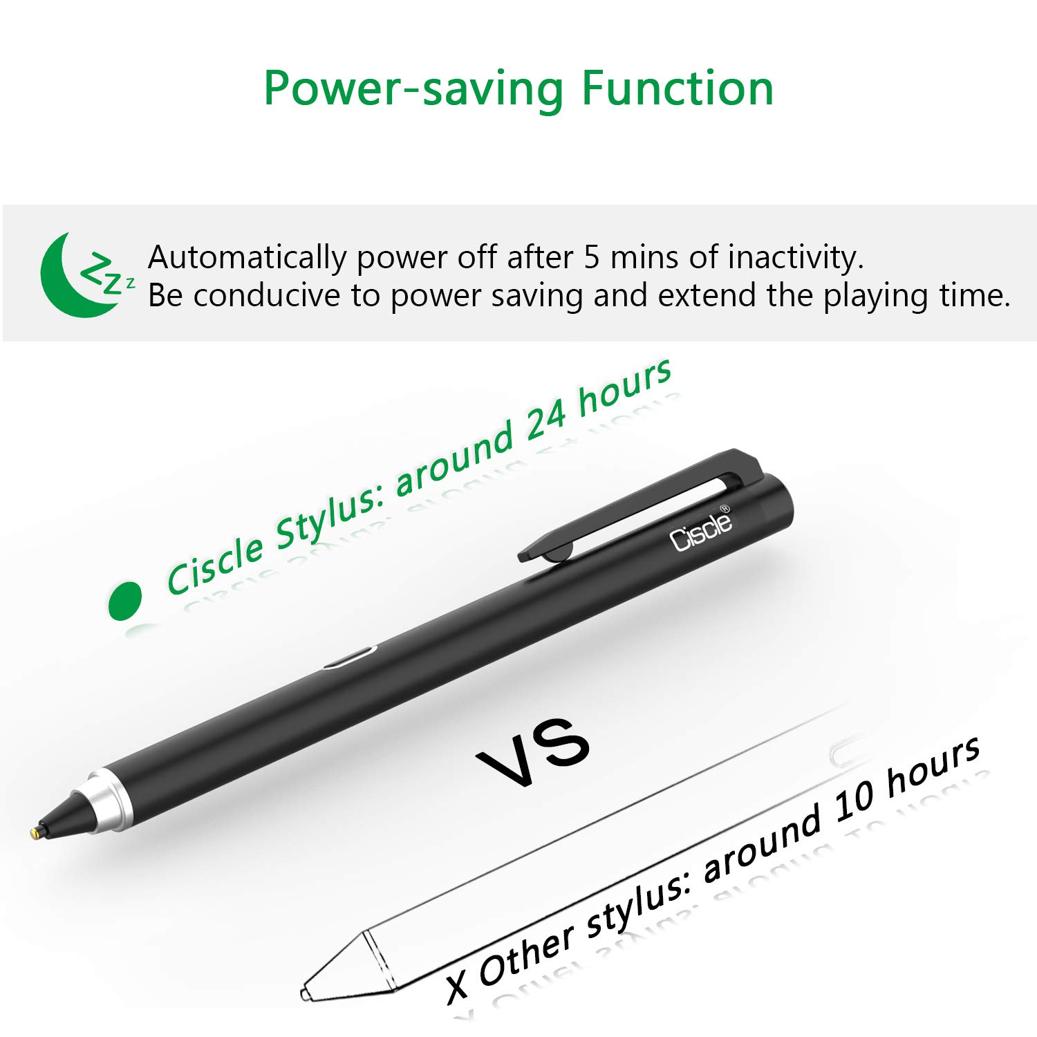 Rechargeable Pencil Compatible with iPad Pro Android Tablets iPhone Blue Ciscle Stylus Pen with 5 Min Auto Power Off and 1.5mm Fine Point Copper Tip Samsung