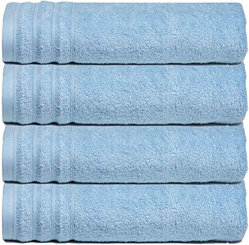 Glamburg Super Soft Zero Twist 4 Piece Oversized Bath Towel Set – 100% Pure Cotton – Luxurious, Fluffy, and Absorbent, 30×54 – Light Blue