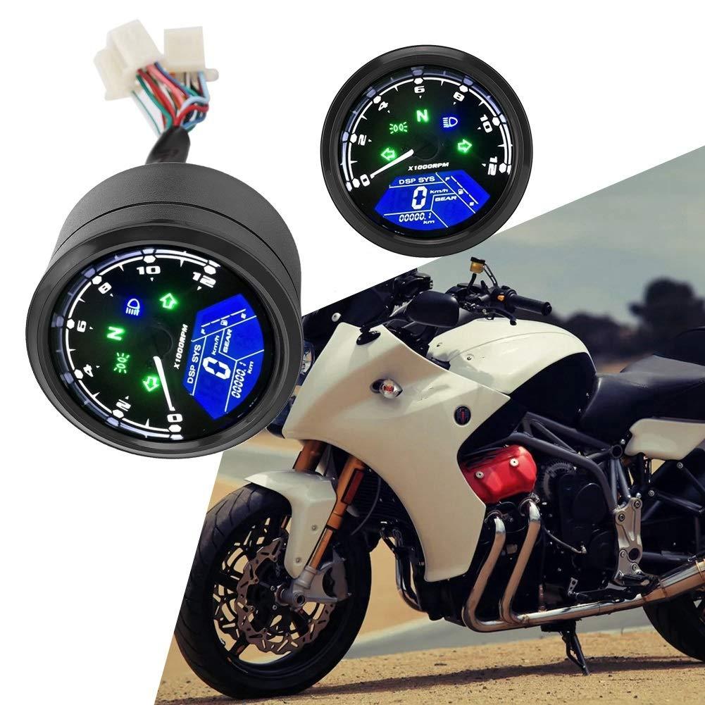 Cuentakil/ómetros for motocicleta Pantalla multifunci/ón for motocicleta Impermeable Antivibraci/ón LCD Digital Veloc/ímetro Cuentakil/ómetros