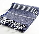 Cacala 100% Cotton Pestemal Turkish Bath Towel, 37 x 70, Dark Blue