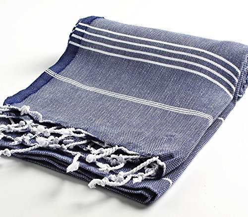 Cacala 100% Cotton Pestemal Turkish Bath Towel, 37 x 70, Dark Blue by Cacala