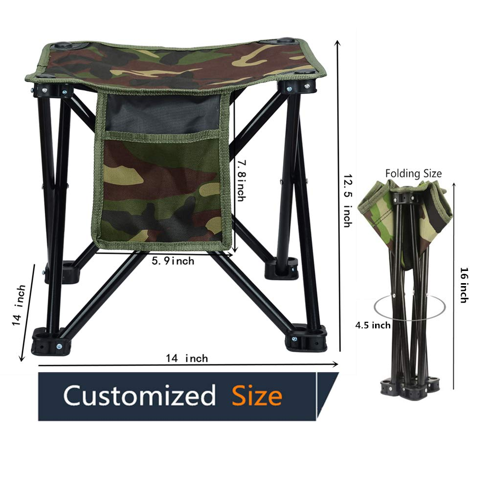 LUCKY CUP Folding Stool Fishing Stool Portable Camping Stool with Carry Bag for Travel Hiking Gardening Picnic Beach BBQ Large Size 12.5 inches by LUCKY CUP