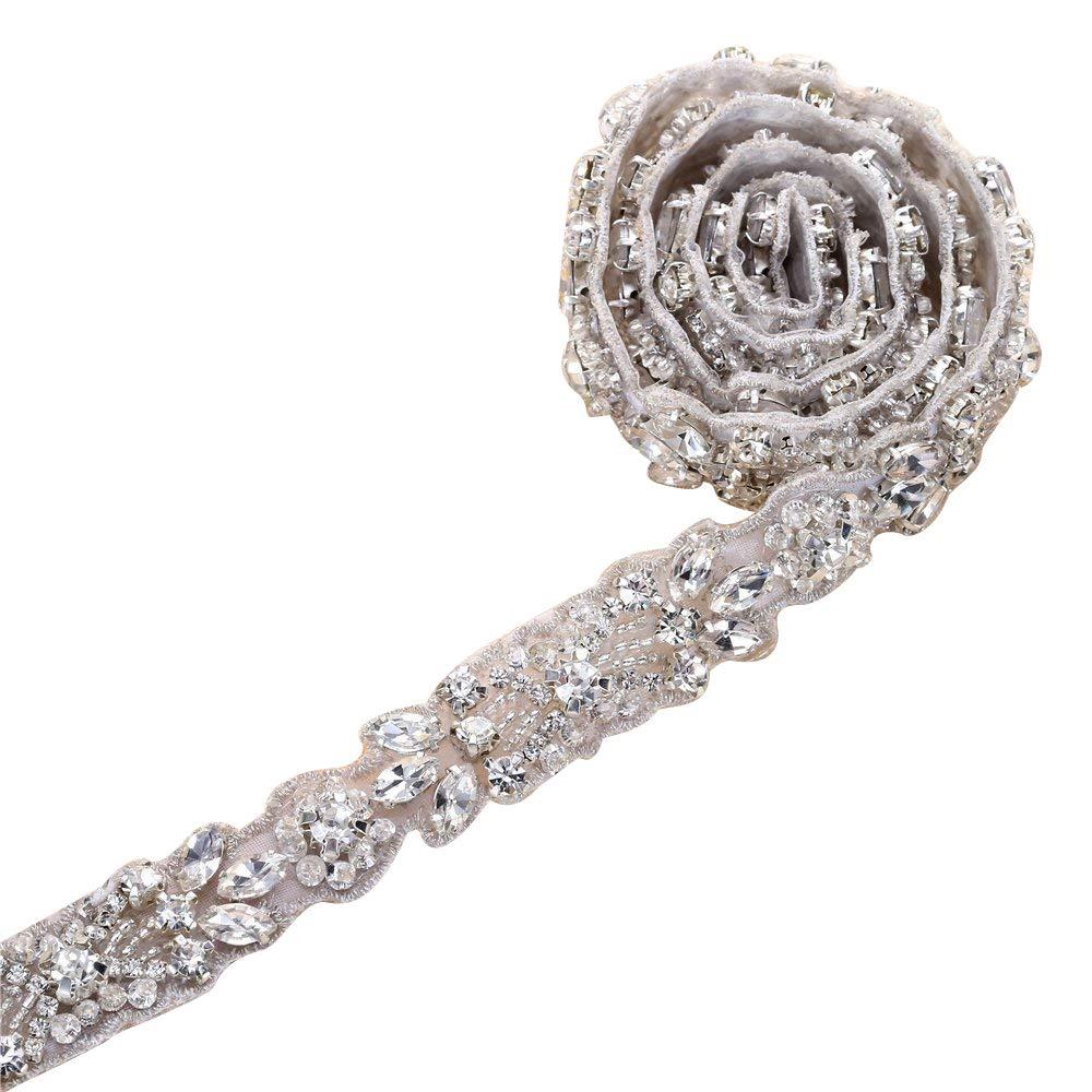 5fcc813a1423 Size - 20.9*0.6 inches (53.3*1.5 cm), newest patterns, for DIY crystal rhinestone  belt, bridal wedding gown sash, formal dress sash belt
