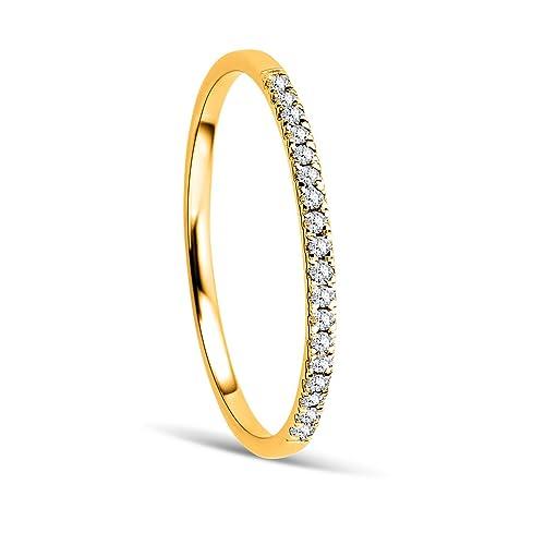 Orovi Anillo Señora compromiso/aniversario en Oro Amarillo con Diamantes Talla Brillante 0.08 ct Oro