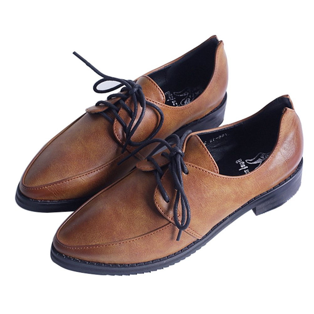 Women's Classic Oxfords Shoes Pointed Toe Lace up Flat Casual Sneaker