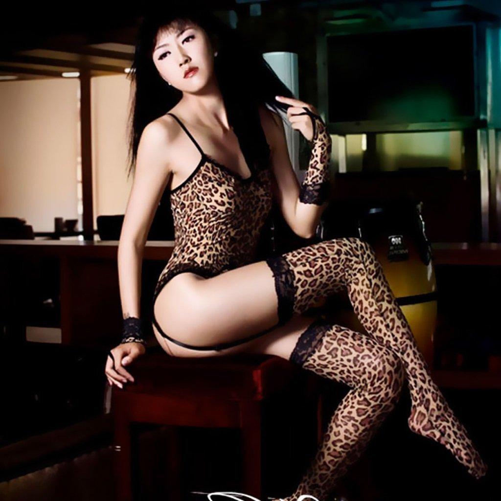 SMSM Women 'S Sense of Leopard Uniforms Uniforms Siamese Stockings Fun Underwear Gloves Suits Temptation Flirting