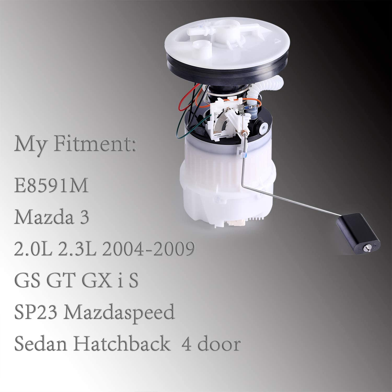Electric Fuel Pump E8591 Compatible with Mazda 3 Sport 2.0L 2.3L 2004-2009 GS GT GX I S SP23 Mazdaspeed Hatchback Sendan 4 Door Intank Electric Fuel Pump