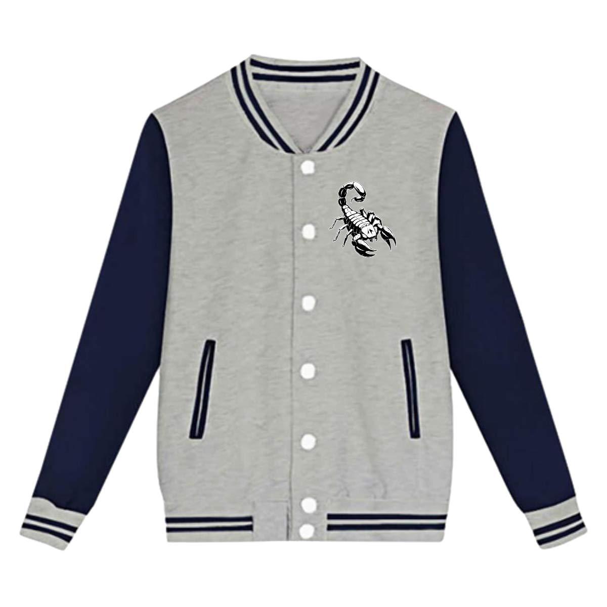 Tina TN Poison Scorpion Teens Boys Girl Varsity Baseball Jacket Long Sleeve Sport Baseball Uniform Jacket Coat Sweater Black