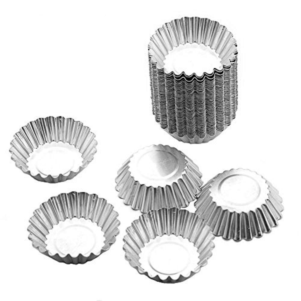 BeneKing 50pcs Egg Tart Aluminum Cupcake Cake Cookie Mold Tin Baking Tool Baking Cups