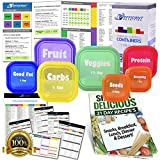 PREMIUM LABELED Portion Control Containers Kit (7-Piece) with COMPLETE GUIDE + 21 DAY PLANNER + RECIPE eBOOK by Efficient Nutrition - BPA FREE Color Coded Meal Prep System for Diet and Weight Loss