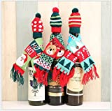 DOYOLLA Set of 3 Christmas Wine Bottle Knitted Ugly Scarf Hat Covers