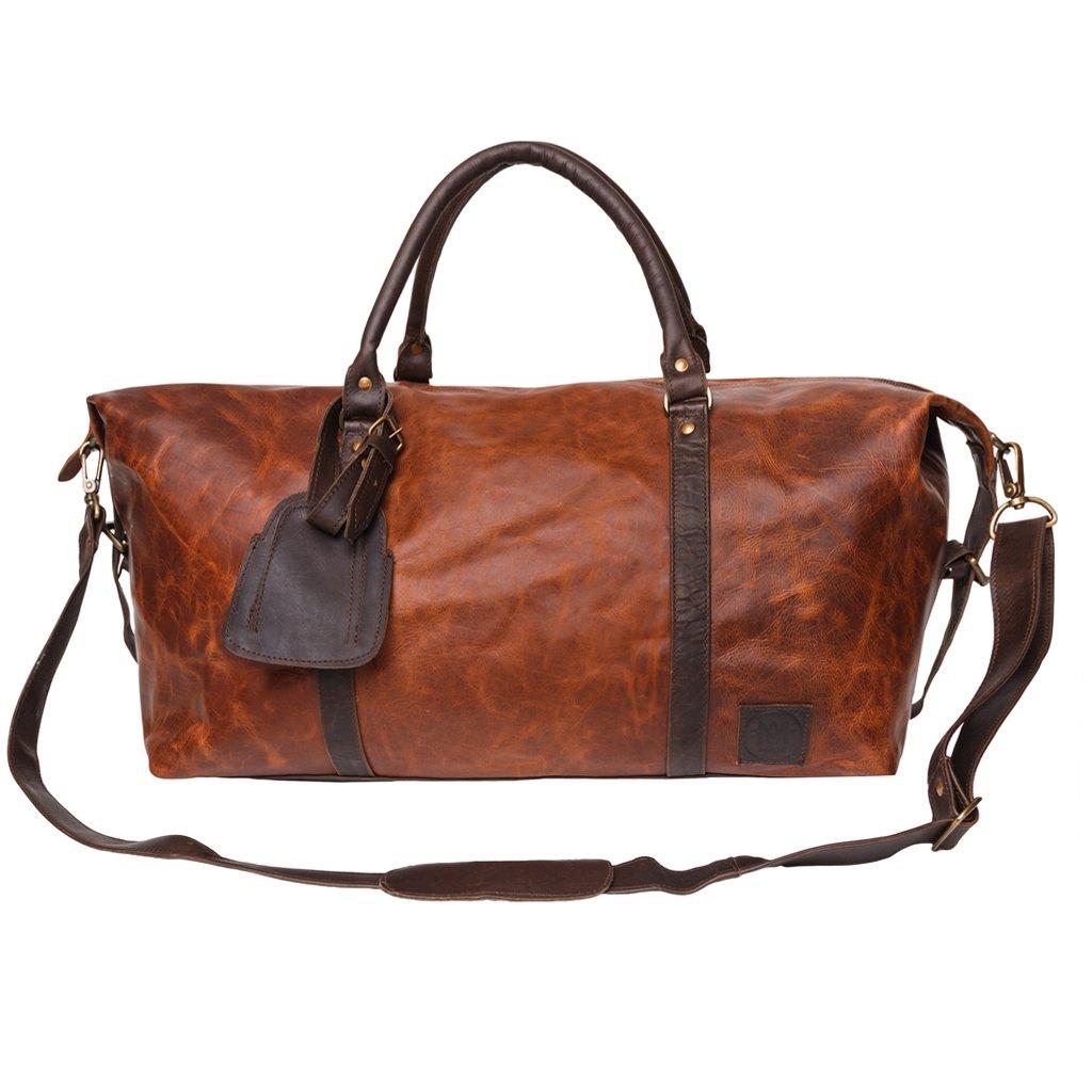 アルマダダッフル ボストンバッグ トラベルバッグ 旅行 ビジネス ブラウンレザー マホガニー 2トーン 英国デザイン オーダーメイド MAHI Leather   B07876ZCJC