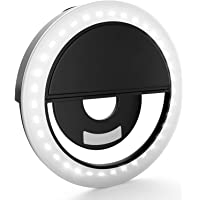 Auslese™ Rechargeable 36 LED Selfie Ring Light Clip-on Camera Adjustable 3 Level Light Settings for Samsung & Smartphones, for Night Time or Dark Rooms