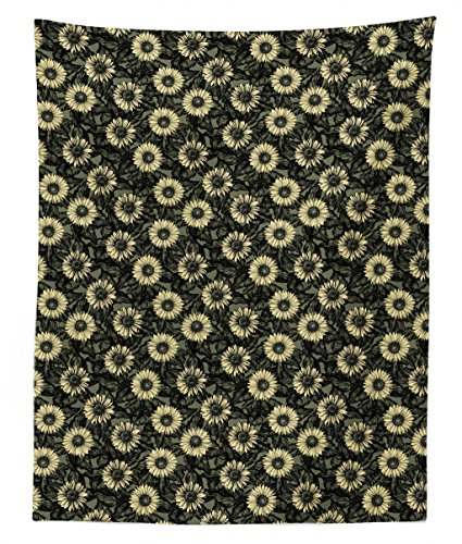 Bouquet Wall Tapestry - Lunarable Sunflower Tapestry Twin Size, Abstract Nature Inspired Illustration Bouquet Retro Composition, Wall Hanging Bedspread Bed Cover Wall Decor, 68 W X 88 L inches, Sage Green Black Pale Yellow