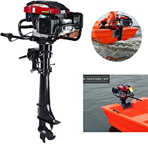 HANGKAI Outboard Motors,7HP 4-Stroke Outboard Motor Marine Engine Air Cooling Tiller Control 50cm Shaft Fishing Boat Yacht Engine Air Cooling Inflatable Boat Motor