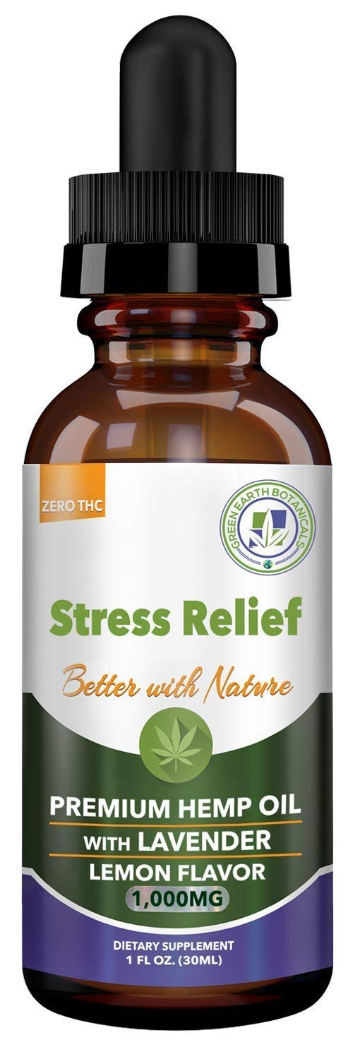 Hemp Oil 1000mg Stress Relief w/Lavender - Lemon Flavor: Pain Relief, Anxiety, Inflammation, Sleep, Nausea, Depression - for Help with Pain Relief & Anxiety Relief