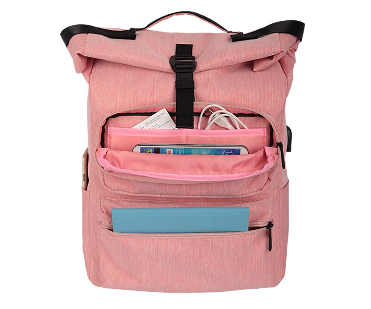 Casual Daypack for Men /& Women Travel Outdoor Backpack Should Bag with Connector Pink