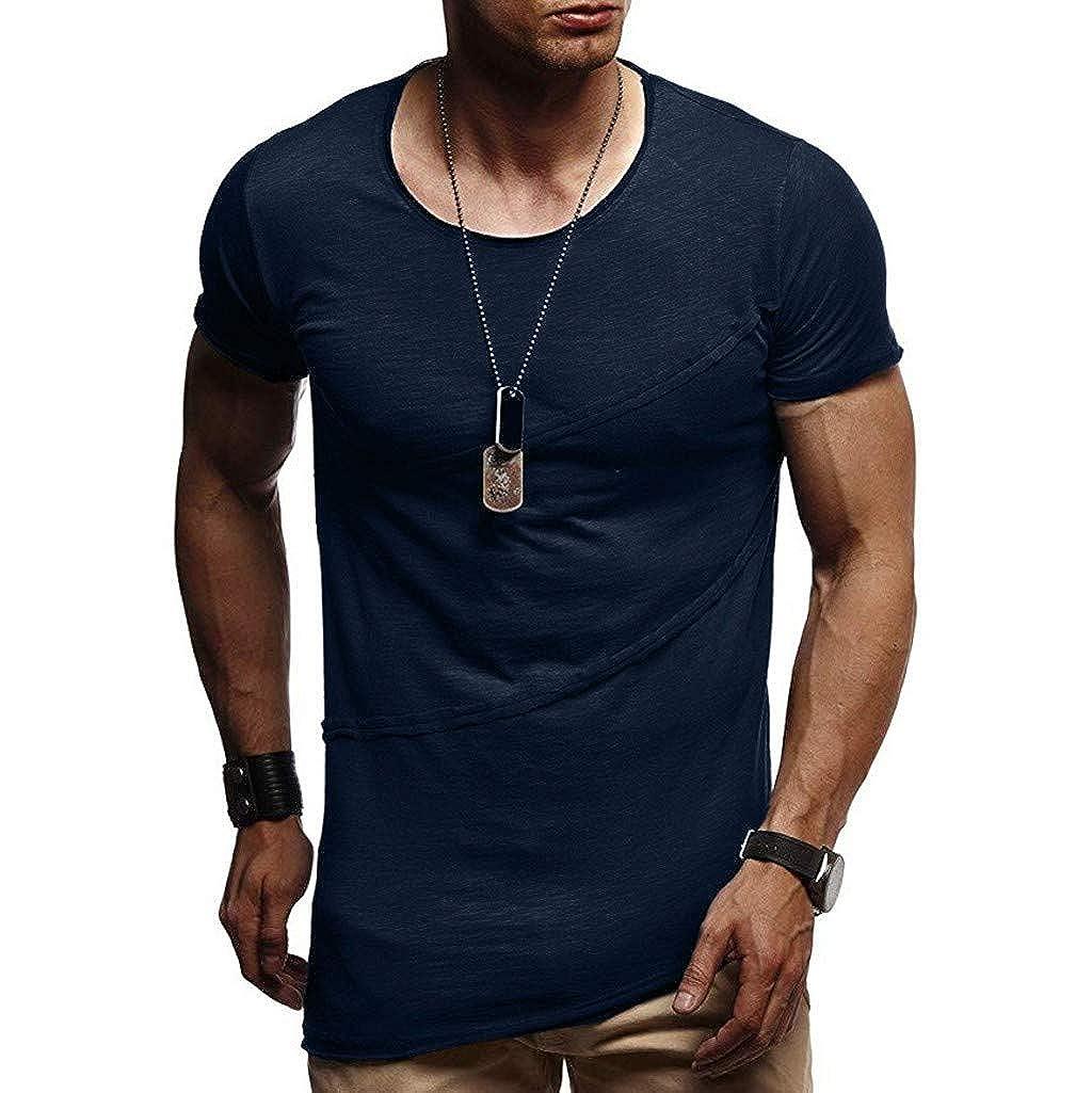 T-Shirts Herren Muscle Sommer Patchwork Solide Kurzarm Oansatz Top Bluse Atmungsaktive Sweatshirt Männer Training Slim Fit Tankshirt