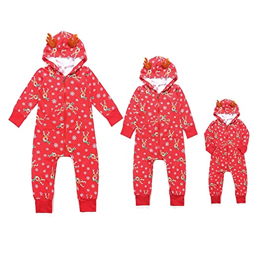 985ad1bd7f GzxtLTX Christmas Family Matching Pajama Set Footed Pajama Onesie One Piece  Sleepwear with 3D Faux Reindeer