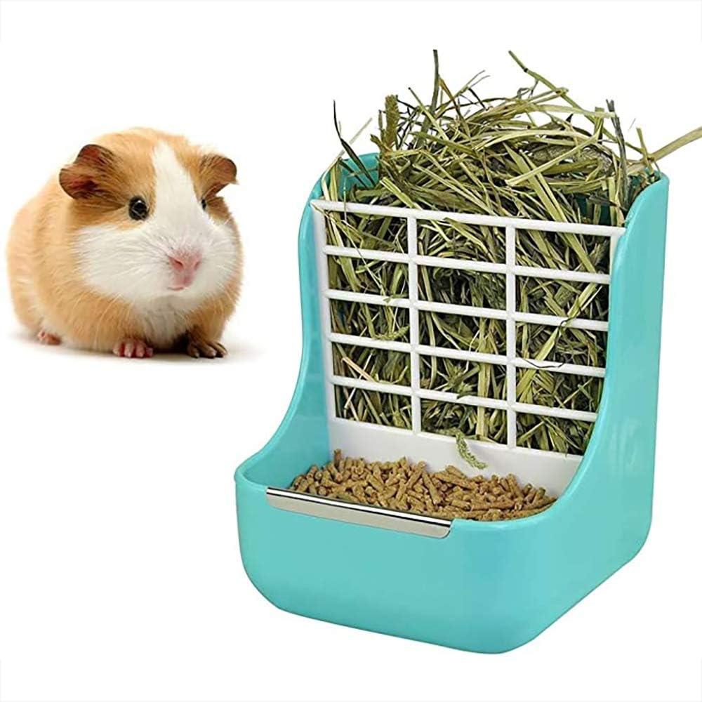 Tongxu Plastic Food Hay Feeder, Hay Food Bin Feeder for Rabbit, Chinchilla, Guinea Pig, Small Animals, Feeder Bowls Use for Grass & Food, Hay Feeder Less Wasted Hay Rack Manger (Blue)