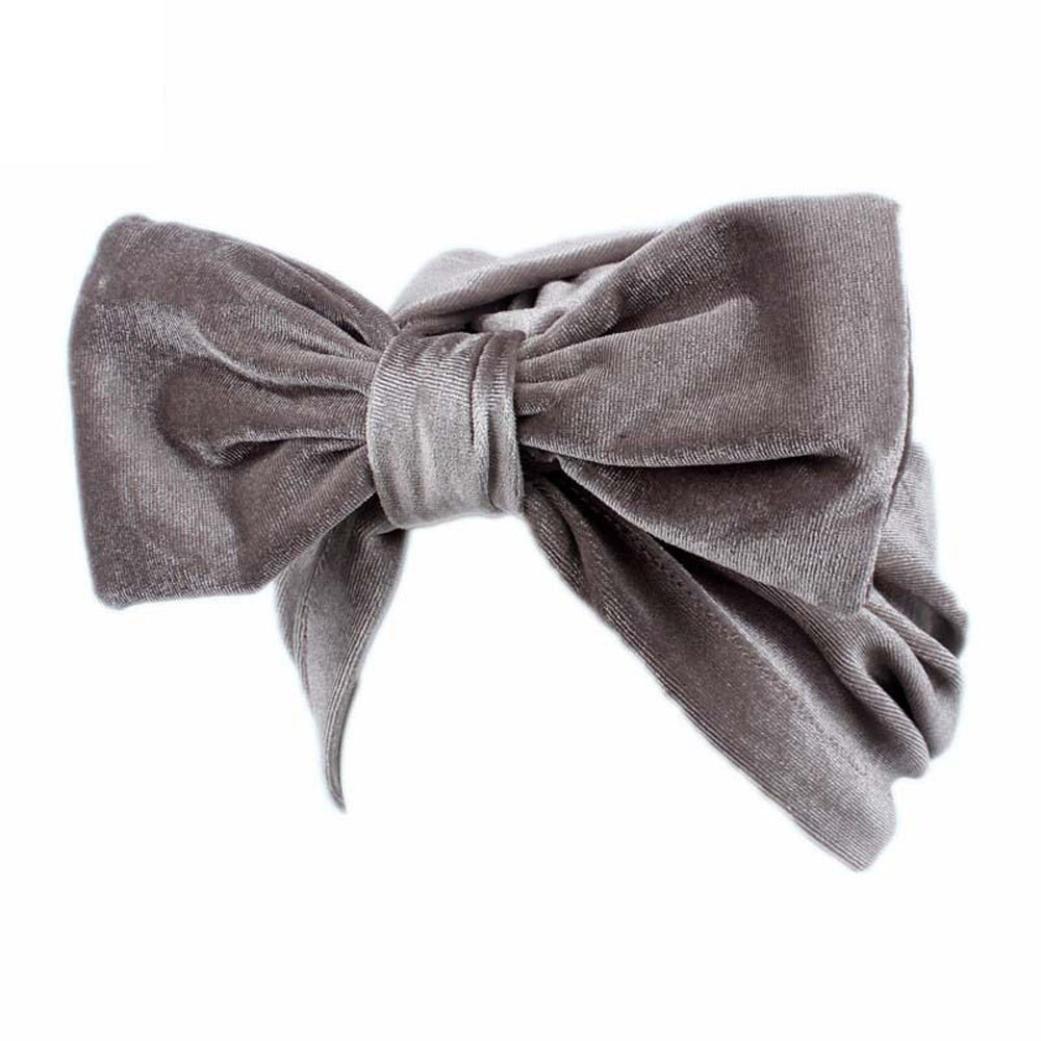 Compia Women Velvet Bow Knot Hat Beanie Scarf Turban Head Wrap Cap
