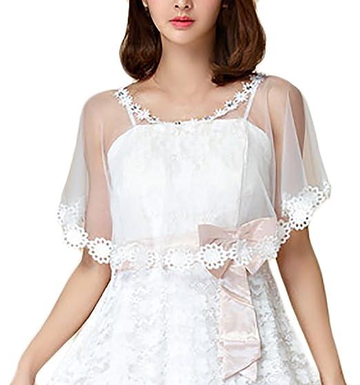 Chal Mujer Fiesta Elegantes Vintage Transparentes Tul Estola Poncho Capa Tops para Vestidos De Novia Boda