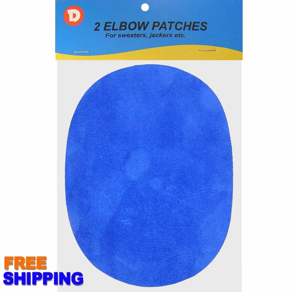 Two Faux-Suede Iron-On Elbow Patches 4.5 x 5.5 in Color - Royal Blue Dimecrafts
